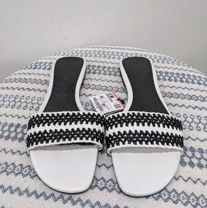 Zara NWT Black & White Weave Sandal Slides